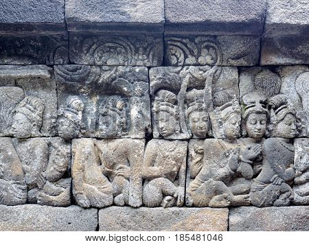 The 9th-century stone carving at BorobudurTemple telling the story of Buddhism in Magelang Regency near Yogyakarta Indonesia
