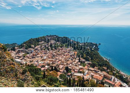 Aerial view and cityscape of Taormina, Sicily, Italy