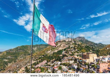 Picturesque Castelmola village as seen from Taormina, Sicily, Italy