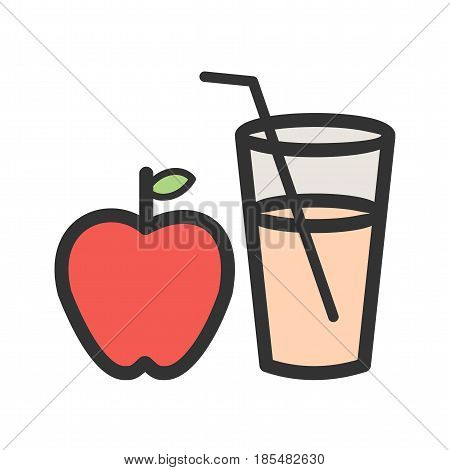 Cider, apple, red icon vector image. Can also be used for thanksgiving. Suitable for mobile apps, web apps and print media.