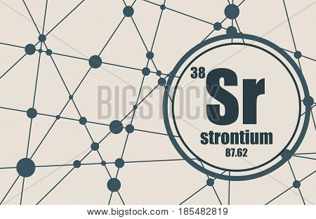 Strontium chemical element. Sign with atomic number and atomic weight. Chemical element of periodic table. Molecule And Communication Background. Connected lines with dots.