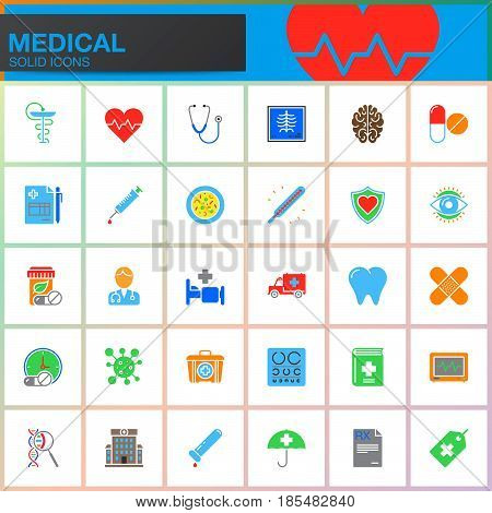 Medicine and Health vector icons set Medical modern solid symbol collection pictogram pack isolated on white colorful logo illustration