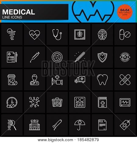 Medicine and Health line icons set Medical outline vector symbol collection linear pictogram pack isolated on black logo illustration