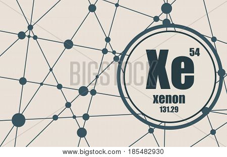 Xenon chemical element. Sign with atomic number and atomic weight. Chemical element of periodic table. Molecule And Communication Background. Connected lines with dots.