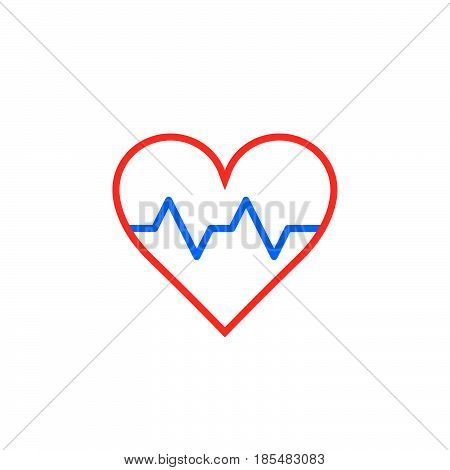Heartbeat symbol. heart beat pulse line icon outline vector logo illustration linear pictogram isolated on white