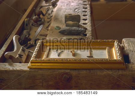 Adventure stories background with the archeology instruments