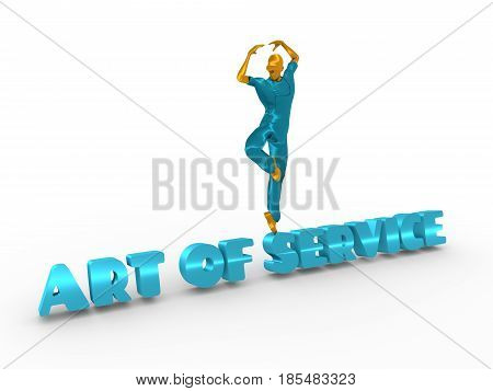 Young man wearing apron. Worker model dancing on the art of service text. 3D rendering. Metallic material.