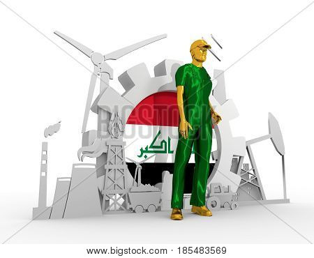 Young man wearing apron. Bearded worker at industrial isometric icons set with Iraq flag. 3D rendering. Metallic material. Energy generation and heavy industry.