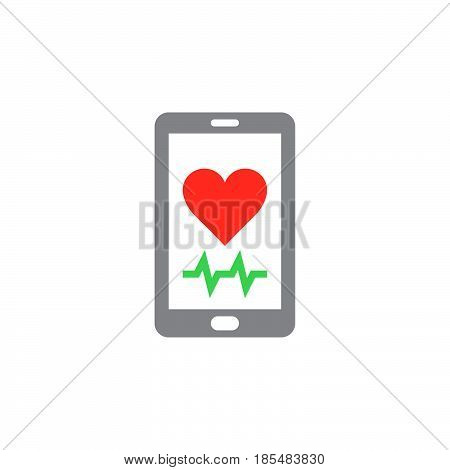Heart rate mobile monitor symbol. Smartphone with heart icon vector solid logo illustration colorful pictogram isolated on white