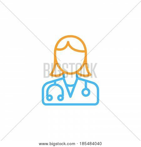 Female doctor line icon physician outline vector logo illustration linear colorful pictogram isolated on white