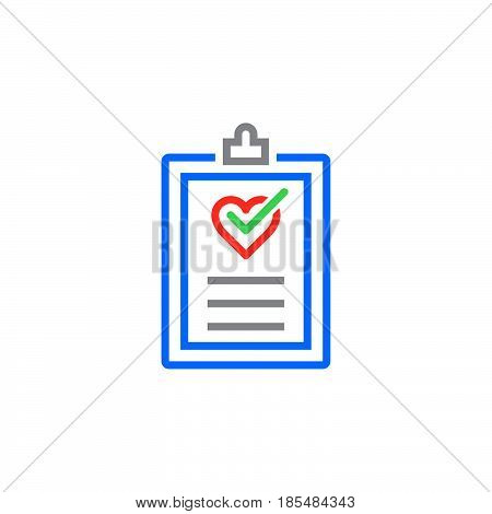 Cardiac examination medical test report line icon outline vector logo illustration linear colorful pictogram isolated on white