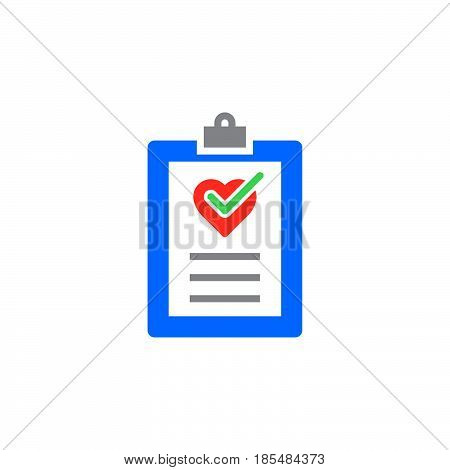 Cardiac examination medical test report icon vector solid logo illustration colorful pictogram isolated on white