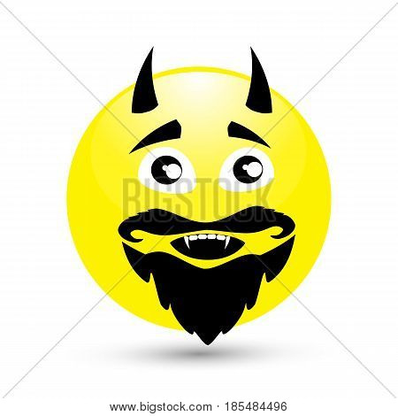 SMILE ICONS on a white background. Horny and toothy. Demon, bloodsucker. shy. ILLUSTRATION FOR YOUR DESIGN.