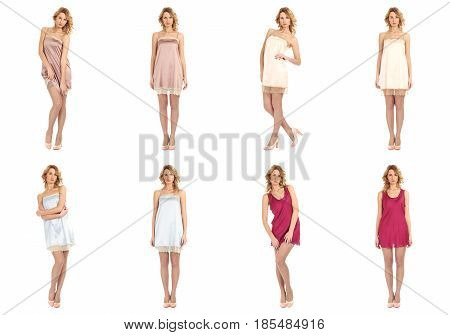 Beauty Woman In Short Nightdress Collage