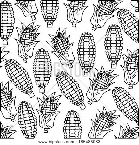 black silhouette with pattern of corncobs vector illustration