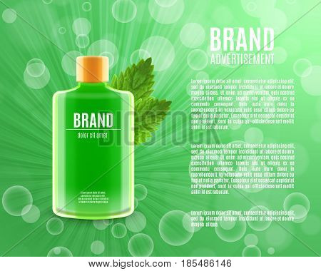 Mouth rinse ads. Refreshing mouthwash product with leaves of mint. 3d illustration. EPS10 vector