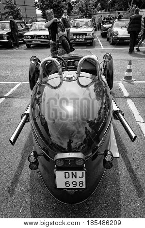 Berlin - May 11: Car Morgan, Rear View, V-twin Three-wheelers (black And White), 26Th Oldtimer-tage
