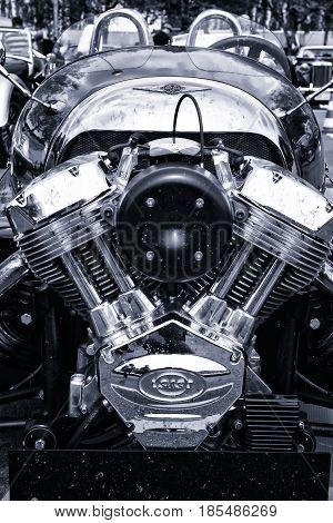 Berlin - May 11: Motor Vehicle Morgan 3, (black And White), Rear View, V-twin Three-wheelers (black