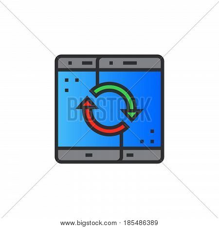 Sync mobile devices line icon filled outline vector sign linear colorful pictogram isolated on white logo illustration