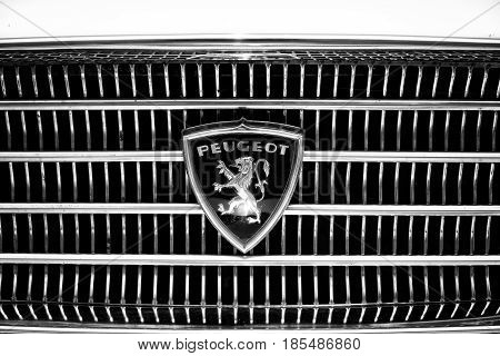 Berlin - May 11: The Emblem The Large Family Car Peugeot 404 (black And White), 26Th Oldtimer-tage B