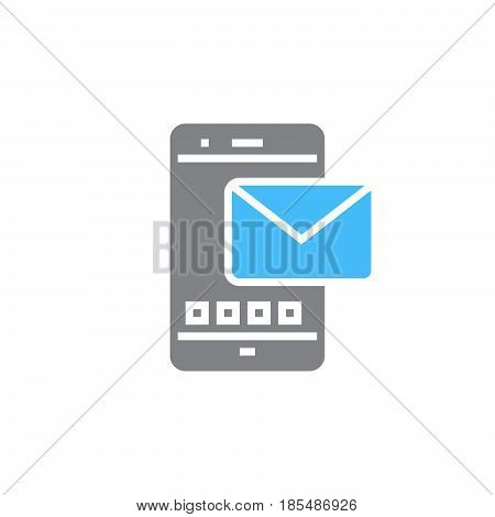 Sms icon vector message solid sign colorful pictogram isolated on white logo illustration