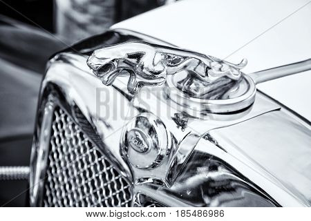 Berlin - May 11: The Emblem Of Jaguar Ss-100 Roadster (black And White), 26Th Oldtimer-tage Berlin-b