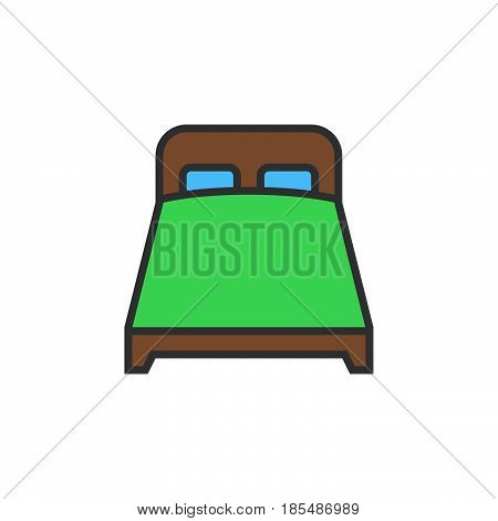 double bed line icon filled outline vector sign linear colorful pictogram isolated on white logo illustration