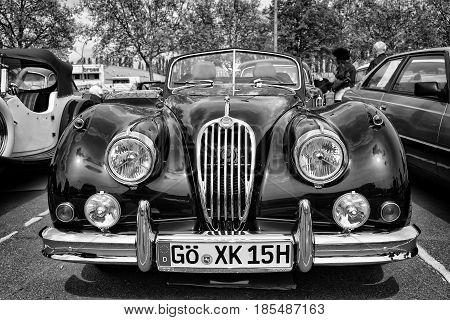 Berlin - May 11: Sport Car Jaguar Xk140 Roadster, (black And White), 26Th Oldtimer-tage Berlin-brand