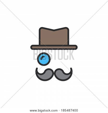 Monocle Mustaches Hat line icon filled outline vector sign linear colorful pictogram isolated on white logo illustration