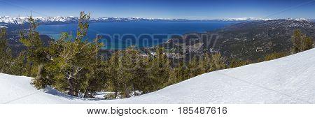 Lake Tahoe Panoramic Overlook in Winter from Heavenly