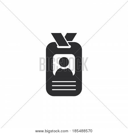 Badge Icon Vector, Identification Card Solid Logo Illustration, Id Pictogram Isolated On White