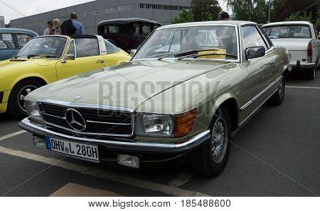 BERLIN - MAY 11: Car Mercedes-Benz 280 SLC (C107) 26th Oldtimer-Tage Berlin-Brandenburg May 11 2013 Berlin Germany