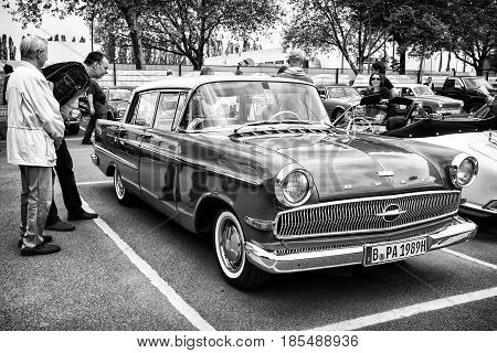 Berlin - May 11: Luxury Car Opel Kapitan, Front View (black And White), 26Th Oldtimer-tage Berlin-br