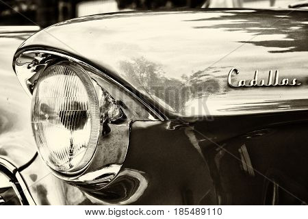 Berlin - May 11: Detail Of The Full-size Luxury Car Cadillac Sixty-two Coupe De Ville (sepia), 26Th