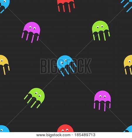 Jellyfish seamless pattern cute random colorful cartoon medusa sea fauna on the dark background. Childish decorative graphic design element for printing on fabric.