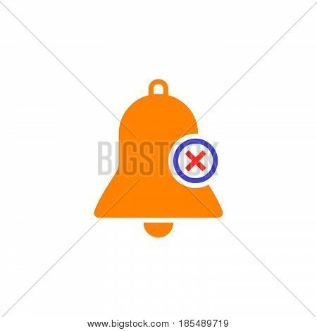 Bell With X Sign, Delete Alarm Icon Vector, Solid Logo Illustration, Colorful Pictogram Isolated On