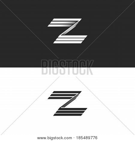 Letter Z Logo Mockup 3D Monogram, Identity Hipster Graphic Design Initials Zzz Black And White Emble