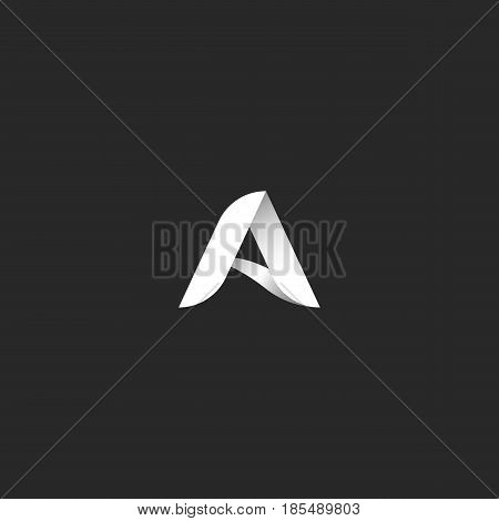 Letter A Logo Black And White Gradient Style Typography Design Template Element. 3D Ribbon Identity