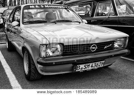 BERLIN - MAY 11: Car Opel Kadett C Coupe (black and white) 26th Oldtimer-Tage Berlin-Brandenburg May 11 2013 Berlin Germany
