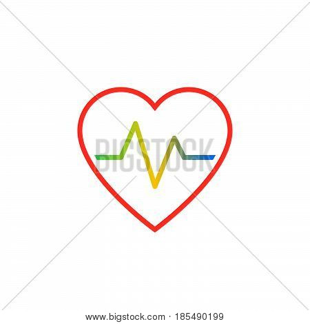 Heartbeat Line Icon, Heart Rate Outline Vector Logo Illustration, Linear Pictogram Isolated On White