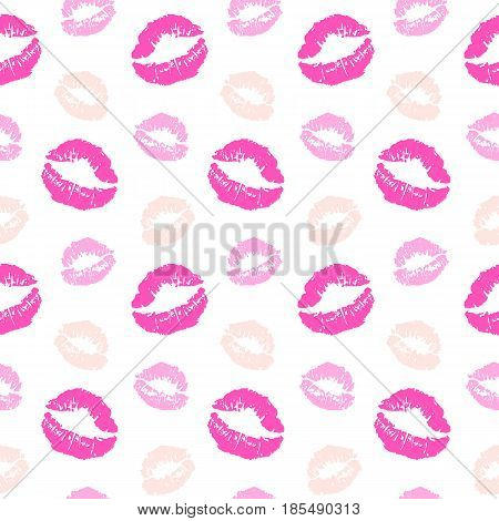 Vector seamless pattern with lips kiss prints, isolated on white background. Fashion textile design