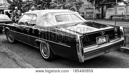 Berlin - May 11: Car Cadillac Deville Le Cabriolet (black And White), Rear View, 26Th Oldtimer-tage