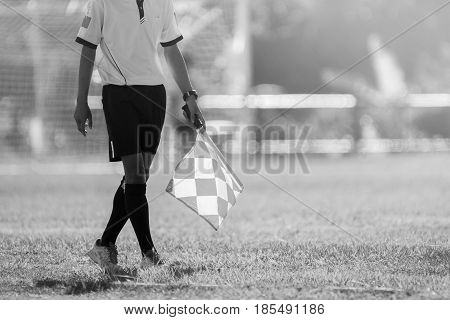 Assistant referee moving along the sideline during a soccer match. Assistant referee standing at the sideline.