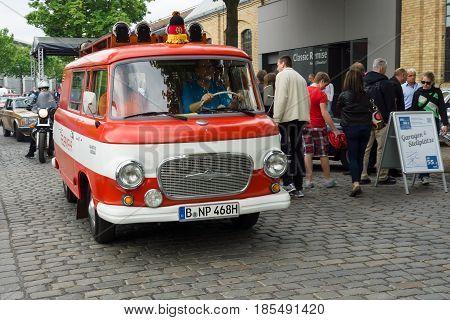 BERLIN - MAY 11: Fire Engine Barkas B1000 26th Oldtimer-Tage Berlin-Brandenburg May 11 2013 Berlin Germany