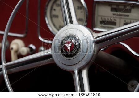 BERLIN - MAY 11: Steering wheel Mercedes-Benz Typ 230 W153 1939 26th Oldtimer-Tage Berlin-Brandenburg May 11 2013 Berlin Germany