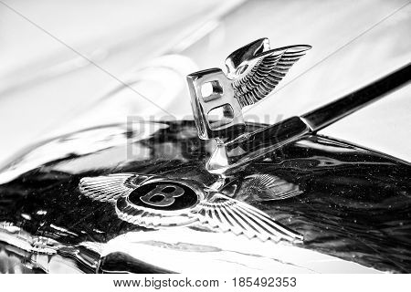 Berlin - May 11: The Emblem On The Hood Of Full-size Luxury Car Bentley S1 Coupe (black And White),