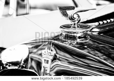 Berlin - May 11: The Emblem On The Hood Of The German Car Horch, (black And White), 26Th Oldtimer-ta