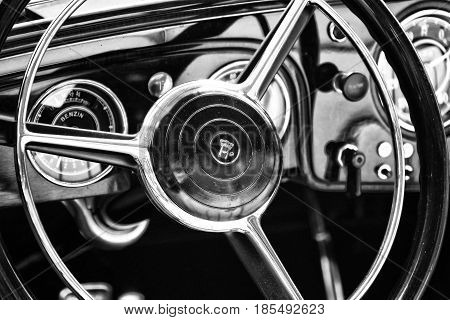 Berlin - May 11: Steering Wheel And Dashboard German Car Horch (black And White), 26Th Oldtimer-tage
