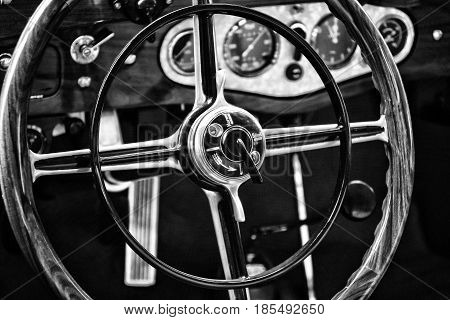 Berlin - May 11: Detail Of The Cockpit And Steering Wheel Touring Car Mercedes-benz Mannheim 370 S (