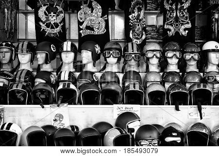 Berlin - May 11: Selling A Variety Of Motorcycle Helmets (black And White), 26Th Oldtimer-tage Berli
